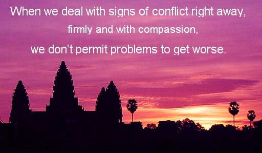 peace through non-violence, take a stand on violence, intervene in conflict, conflict resolution,