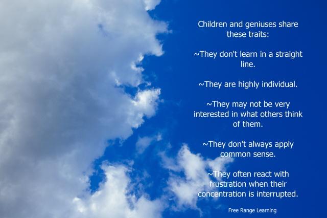 Free Range Learning, all kids geniuses,