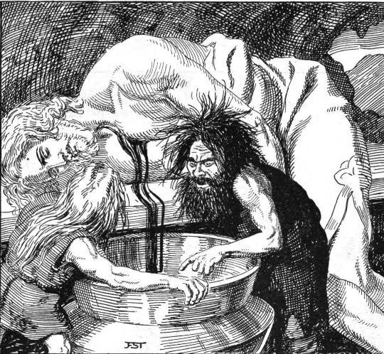 Draining  Kvasir's blood. ( germanicmythology.com)