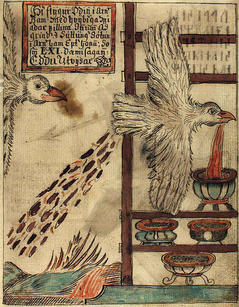Óðin pursued by Suttung, both in eagle form. Note the Mead of Poetic Inspiration being spat into vessels, with the mead for inferior poets coming out the other end. (en.wikipedia.org)