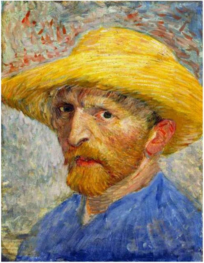 Self-portrait with straw hat, by Vincent van Gogh